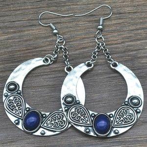 Silver Sapphire Boho Hippie Bohemian Earrings